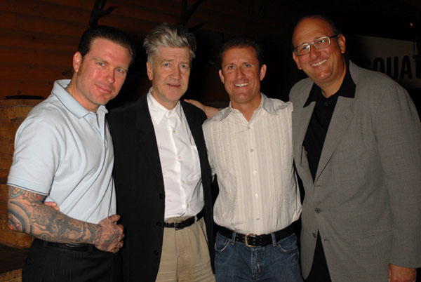 L to R, Ryan Adams, David S. Grant, David Lynch, and Ken Ross at the Bigfoot Lodge. Photo by Renard Garr.