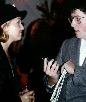 A young Charles de Lauzirika interviewing Sheryl Lee at the 1990 Tree People Benefit. Photo by Jim Bartoo.